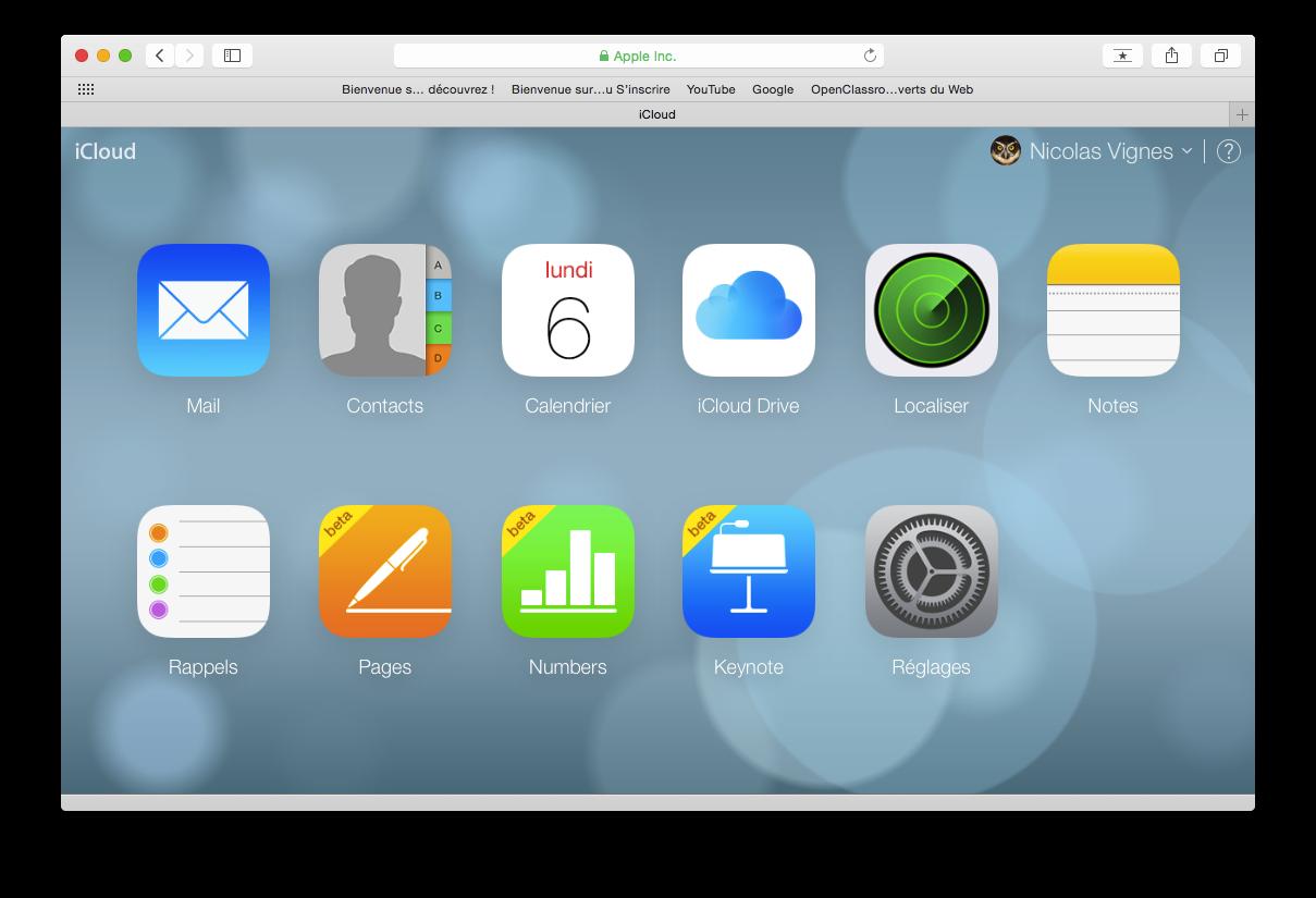 L'interface web d'iCloud