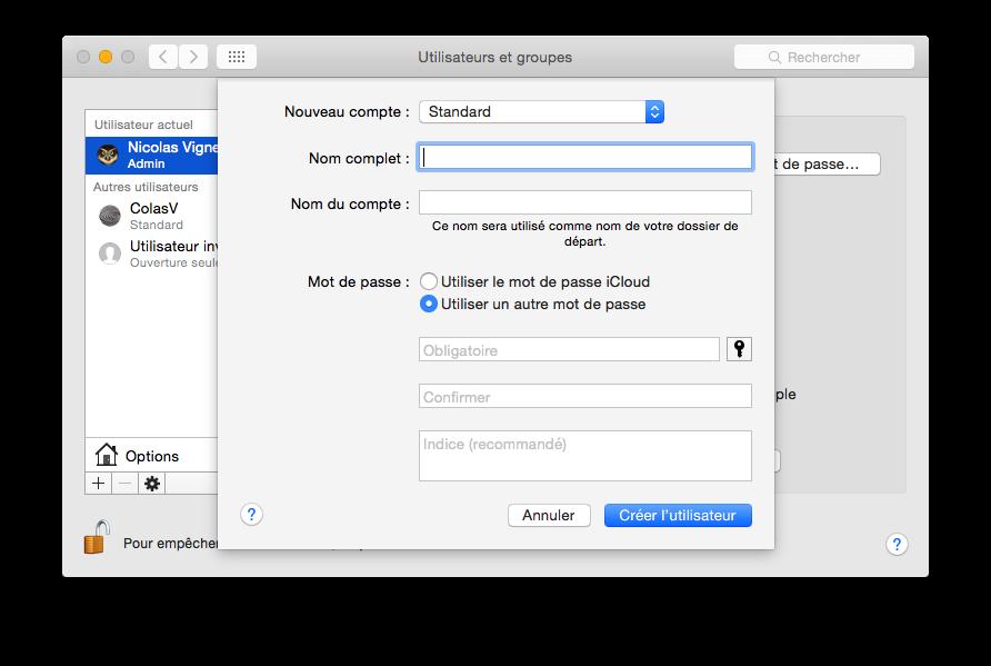 Créer un nouvel utilisateur