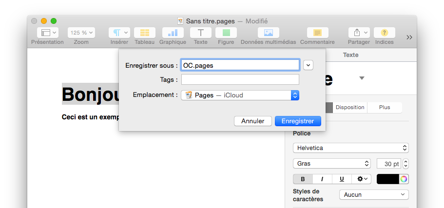 Enregistrer un document dans Pages