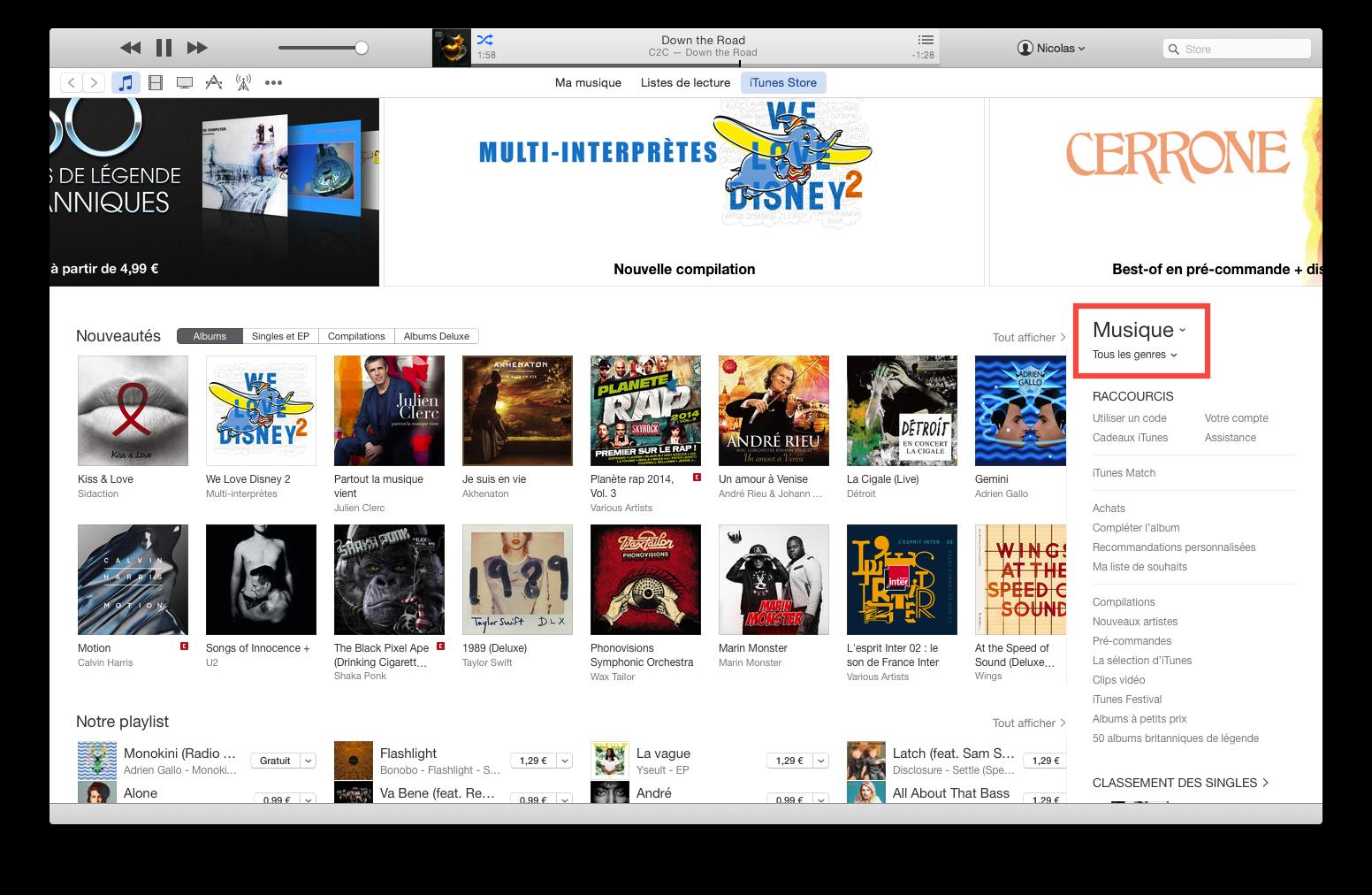 Accéder aux différentes catégories de l'iTunes Store