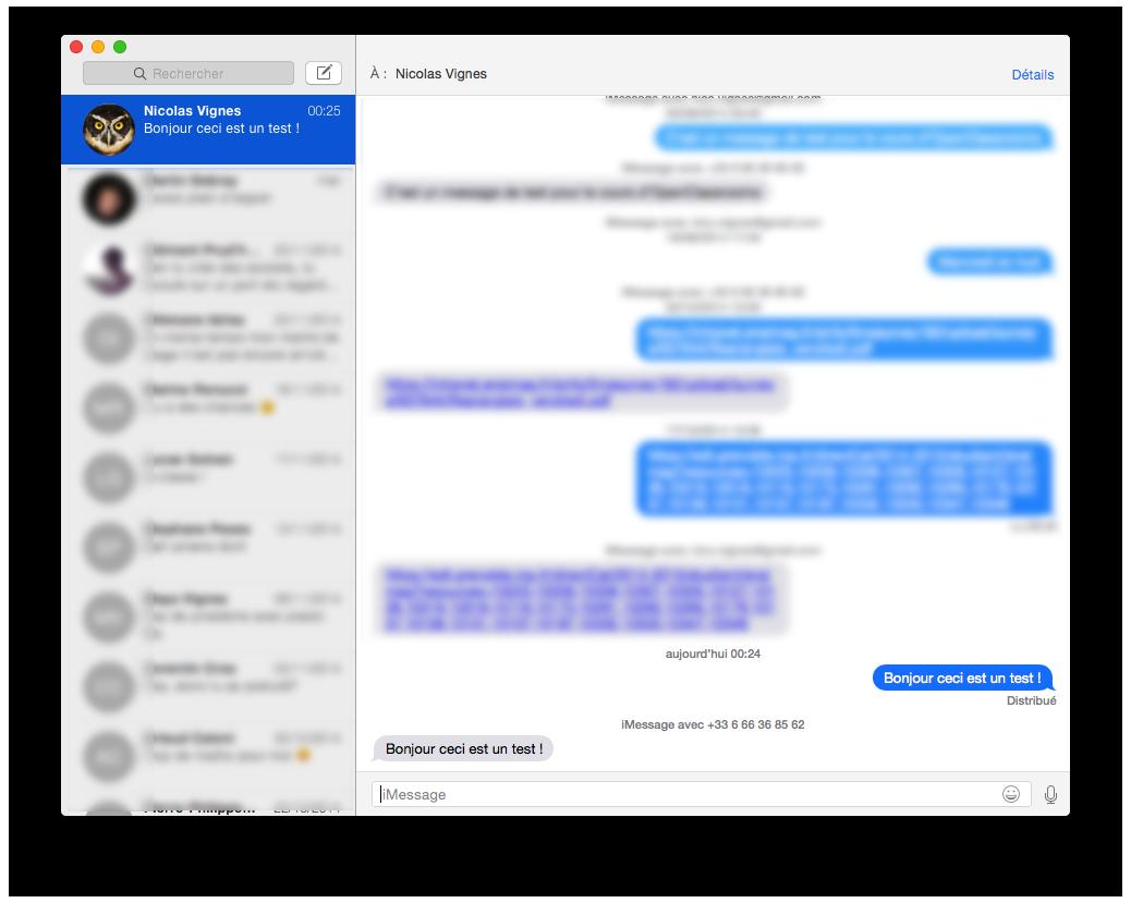 L'interface de Messages