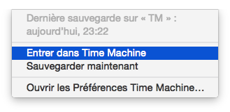 Entrez dans Time Machine