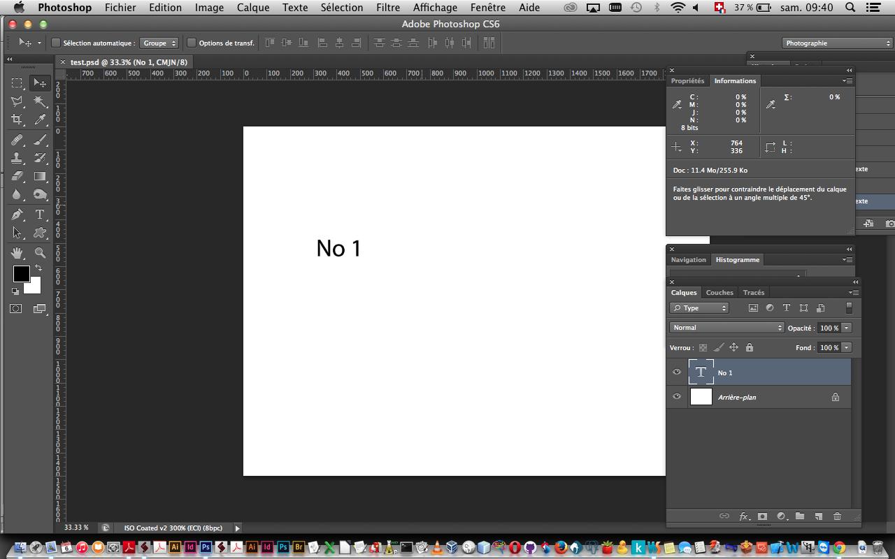 créer un document indesign avec un calque de texte