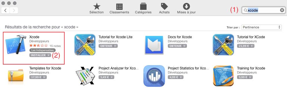 Recherche de Xcode dans l'App Store