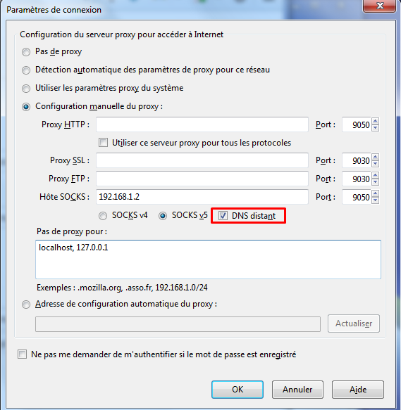 DNS distant dans les paramètres de proxy de Firefox