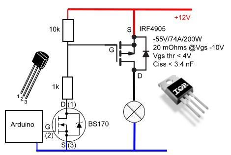 arduino mosfet au lieu de relais pilotage par par benjaminchrd openclassrooms. Black Bedroom Furniture Sets. Home Design Ideas