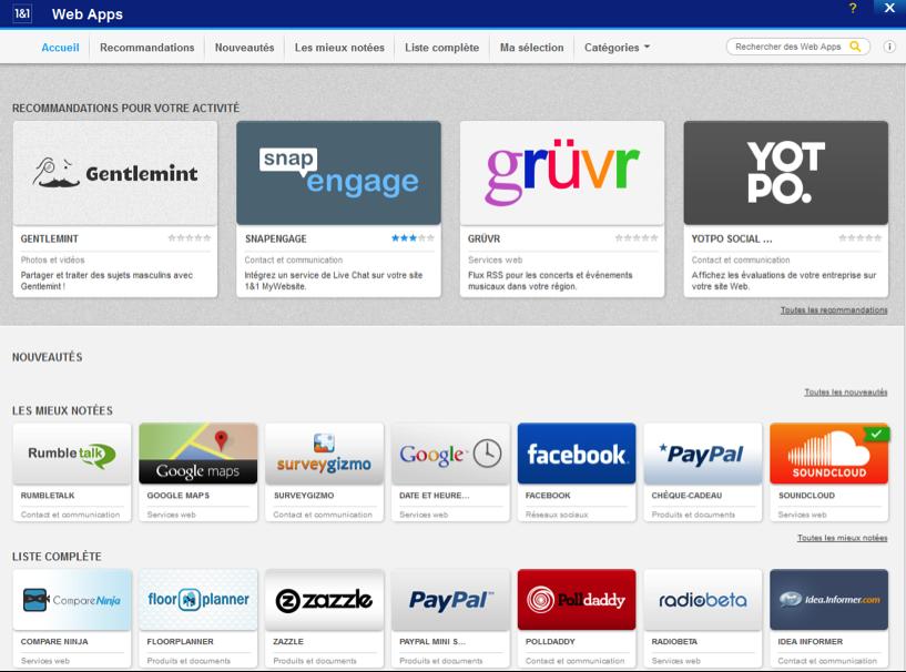 Catalogue des Web Apps