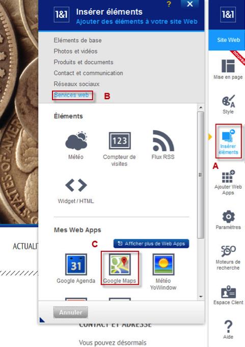 Insérer une Web App depuis le menu d'insertion