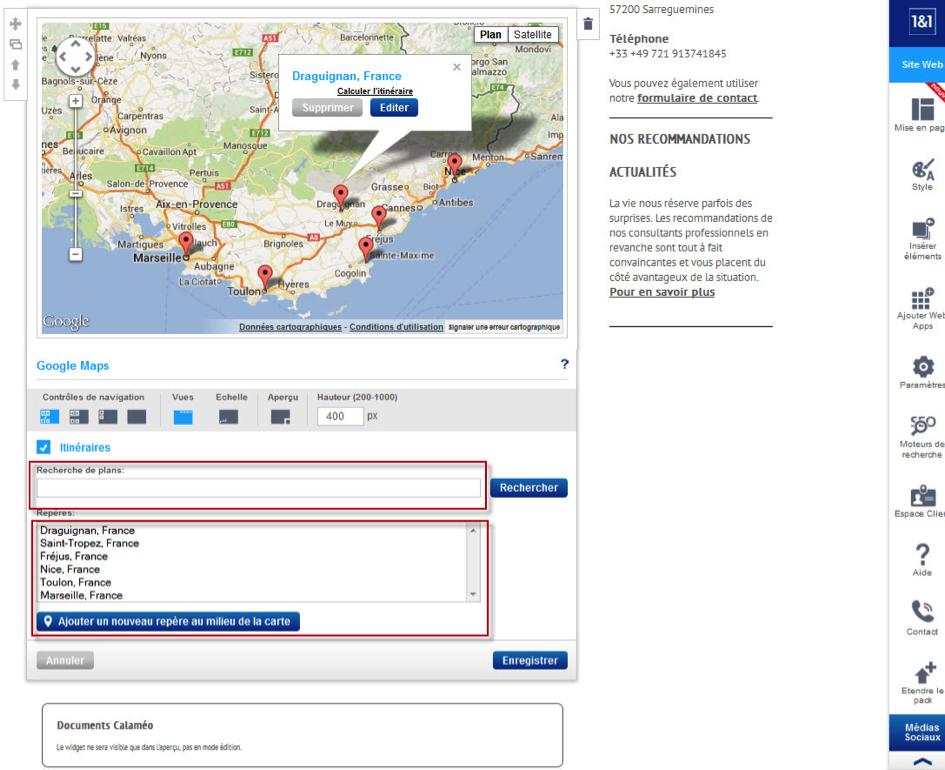 Configurer une Web App avant insertion, exemple de Google Maps