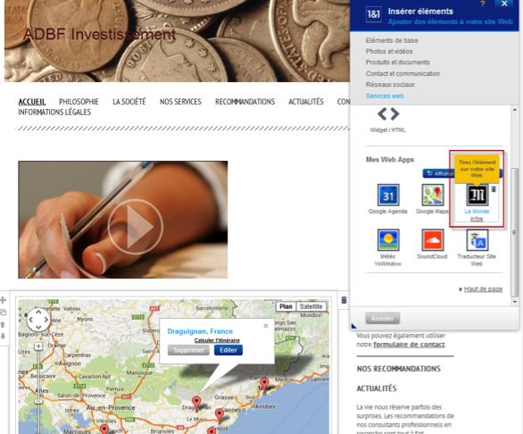 Insérer une Web App depuis le catalogue complet
