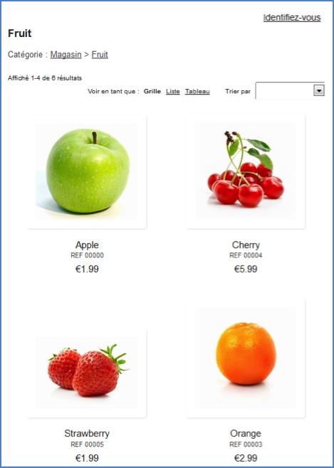 Exemple fruitier d'e-boutique