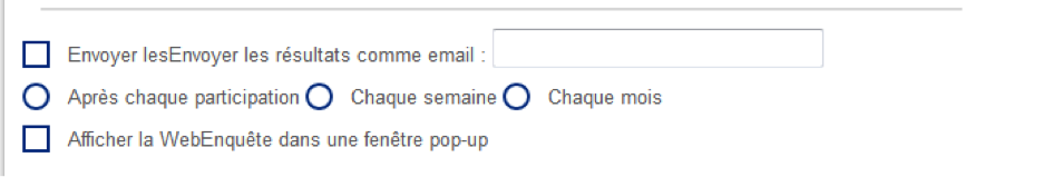 Options disponibles pour les Web Enquêtes