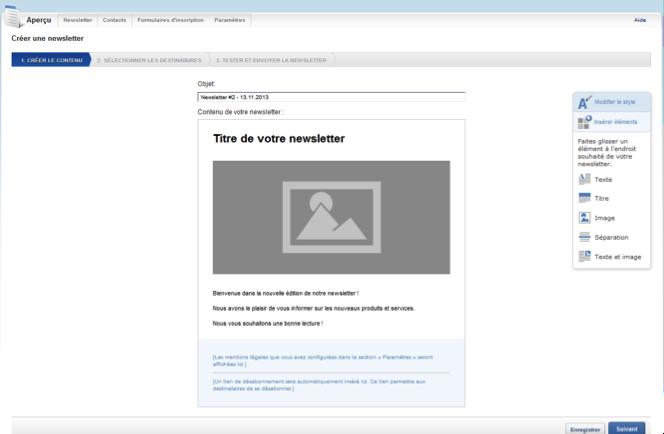 Personnaliser l'objet et le contenu de la newsletter