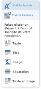 Onglet pour modifier le style de la newsletter