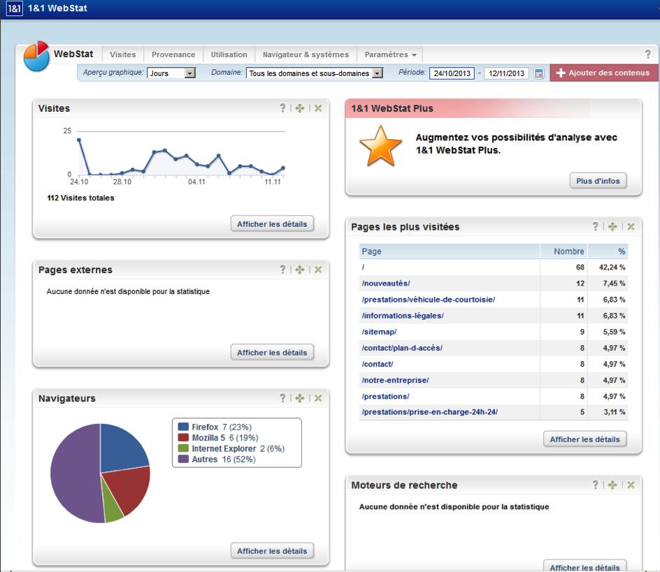 Page d'accueil de l'outil WebStat