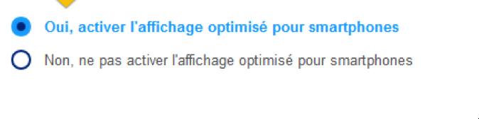 Option pour activer l'affichage mobile optimisé