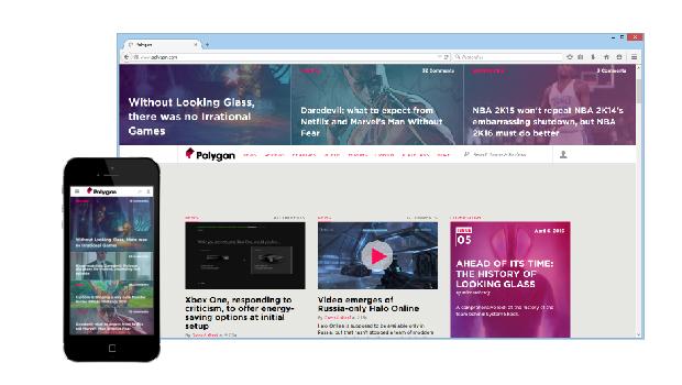 Le site polygon.com est un site de news sur les jeux vidéo complètement responsive