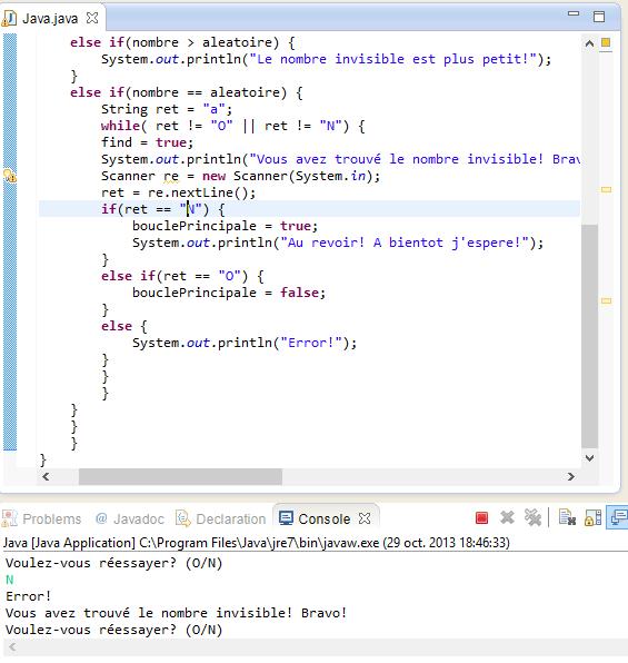 Resolu Probleme En Programmation Avec Java Condition Qui Ne Se