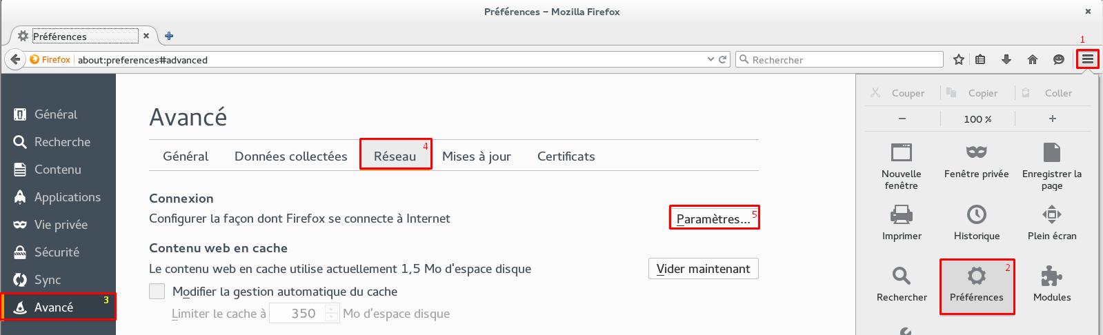 Emplacement des réglages de proxy dans Firefox.
