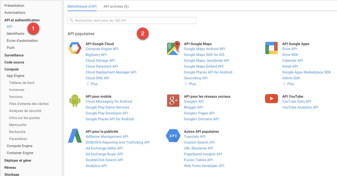 Activer une API spécifique
