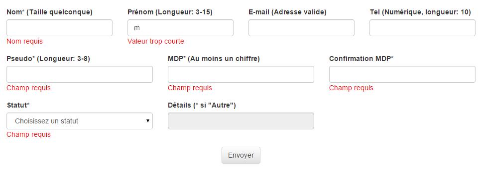 Exemple de validation de formulaire en utilisant Bootstrap
