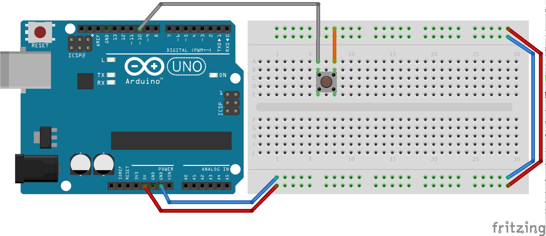Montage pour lier un bouton poussoir au pin 10 par +5V