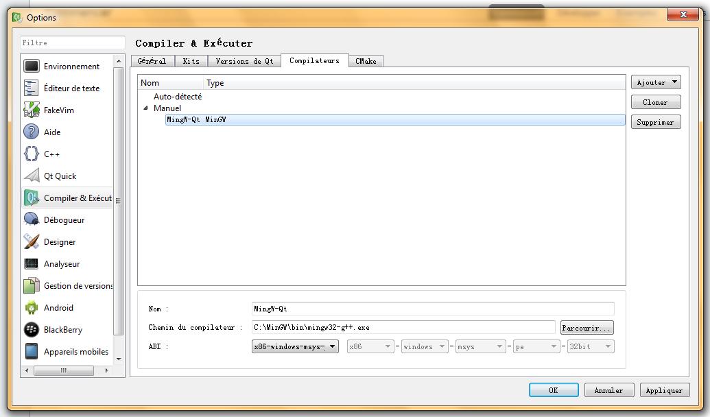 Résolu] Problème avec Qt - Problème de compilateur par