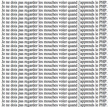 Des lignes affichées grâce à une boucle PHP