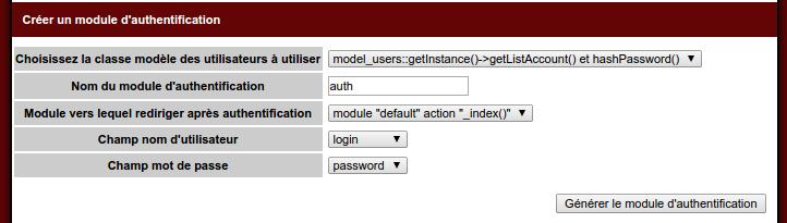 Builder, retour sur création module d'authentification 1/2
