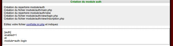 Builder, retour sur création module d'authentification 2/2