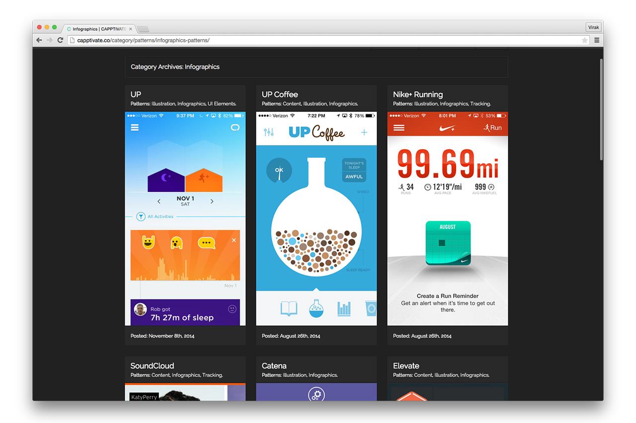 de l'animation d'interface sur le site capptivate
