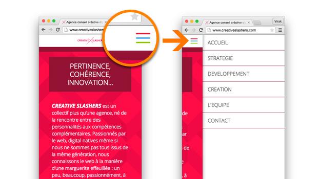 Le site de Creative Slashers aperçu mobile