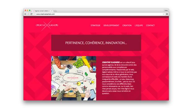 le site de Creative Slashers aperçu Desktop