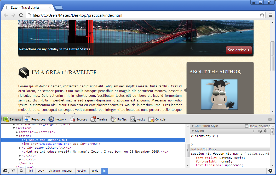Google Chrome debugging tool (at the bottom of the browser)