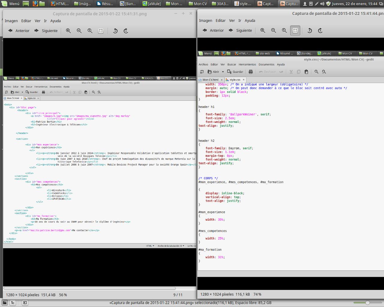 exercice partie 3 organiser son cv  html5 - css3