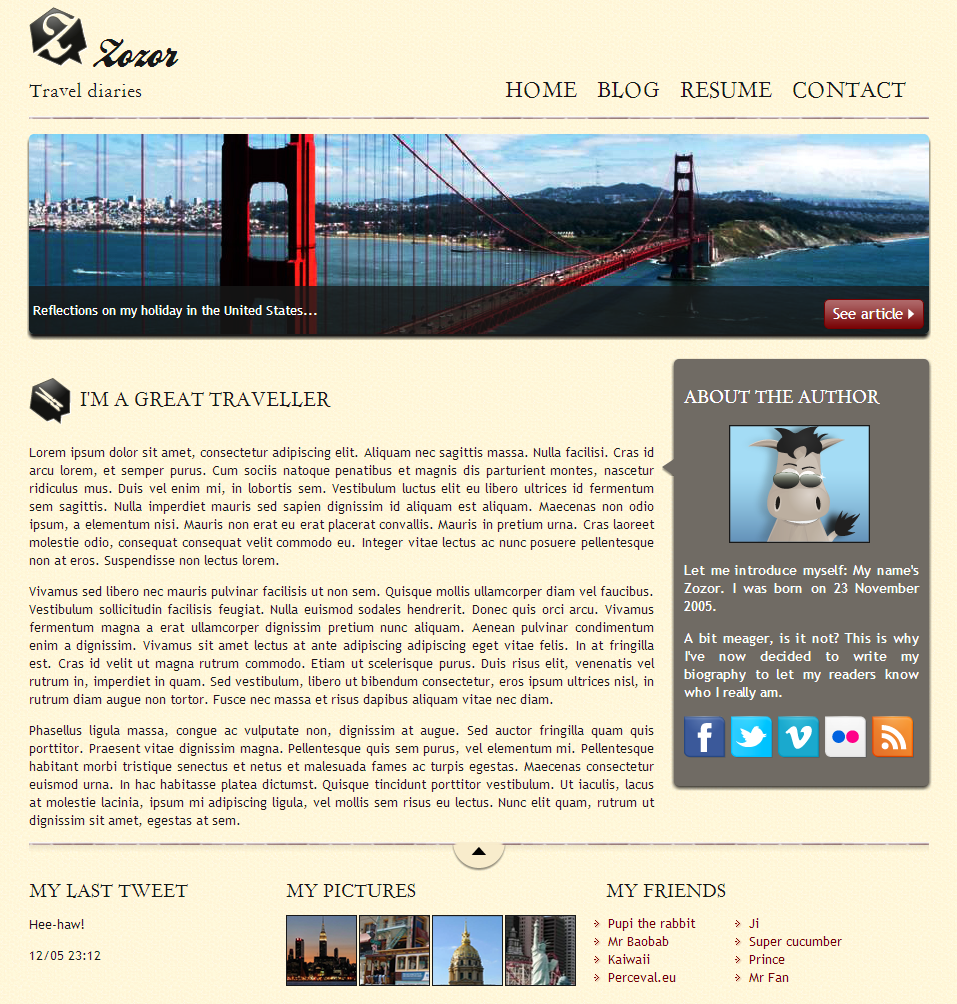 The website built during the practical example