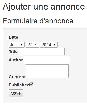 Le formulaire HTML s'affiche bien