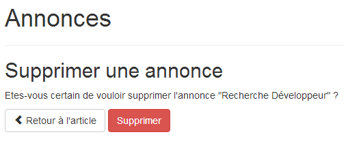 Confirmation de suppression