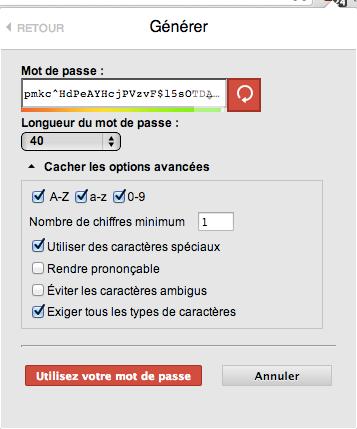 Le générateur de mots de passe