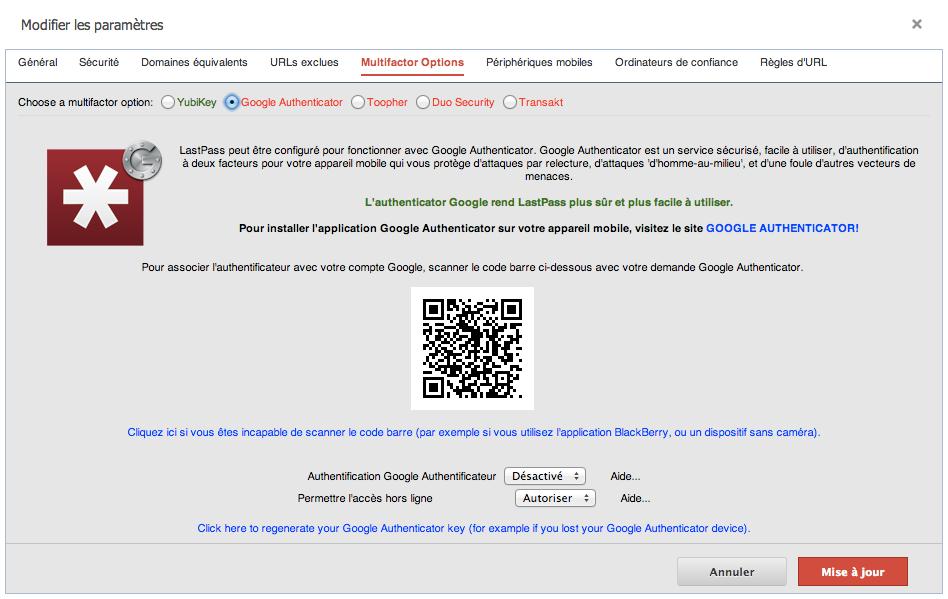 Configuration de Google Authenticator