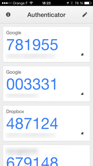 L'application Google Authenticator
