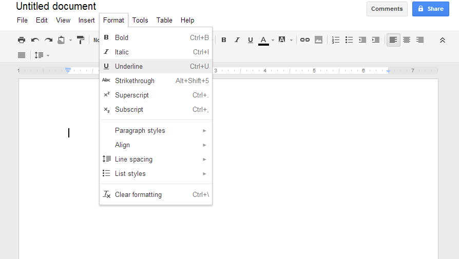 The Google Docs spreadsheet