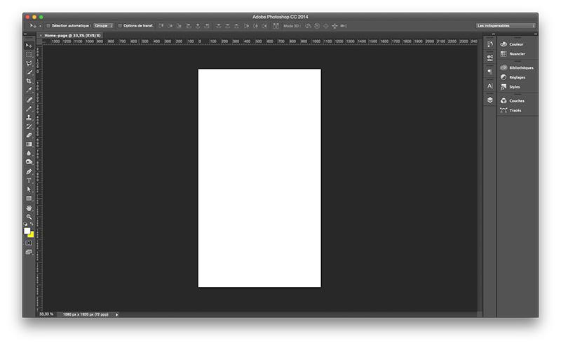Le document qui servira à mettre en forme la home page est créé