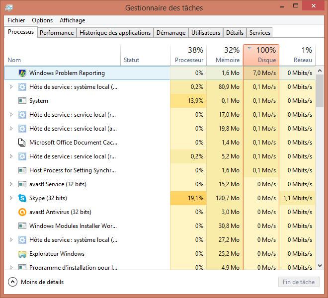 windows 8.1 100 disk usage windows problem reporting