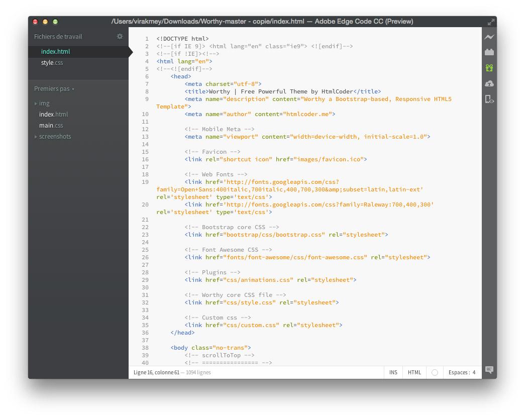 Le fichier index.html