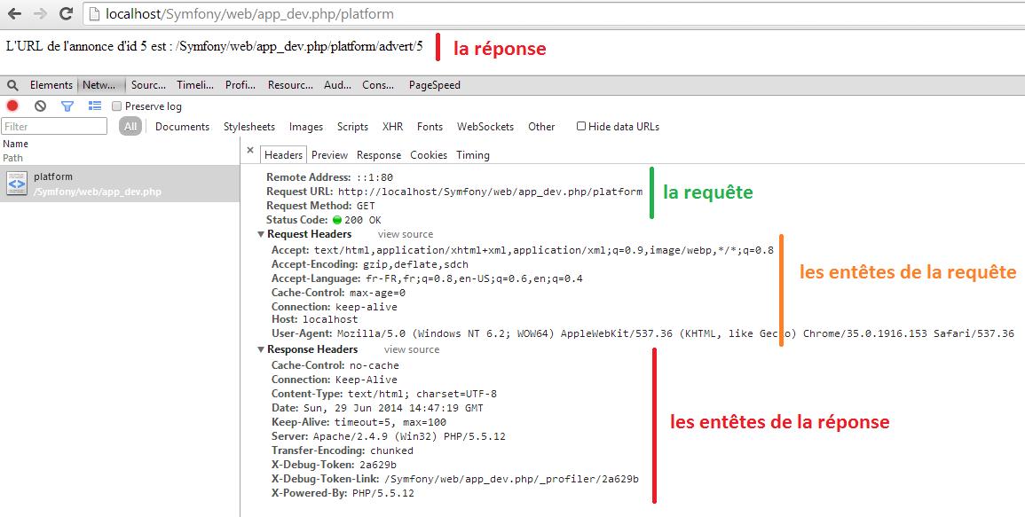 Visualisation d'une requête HTTP et sa réponse sous Chrome