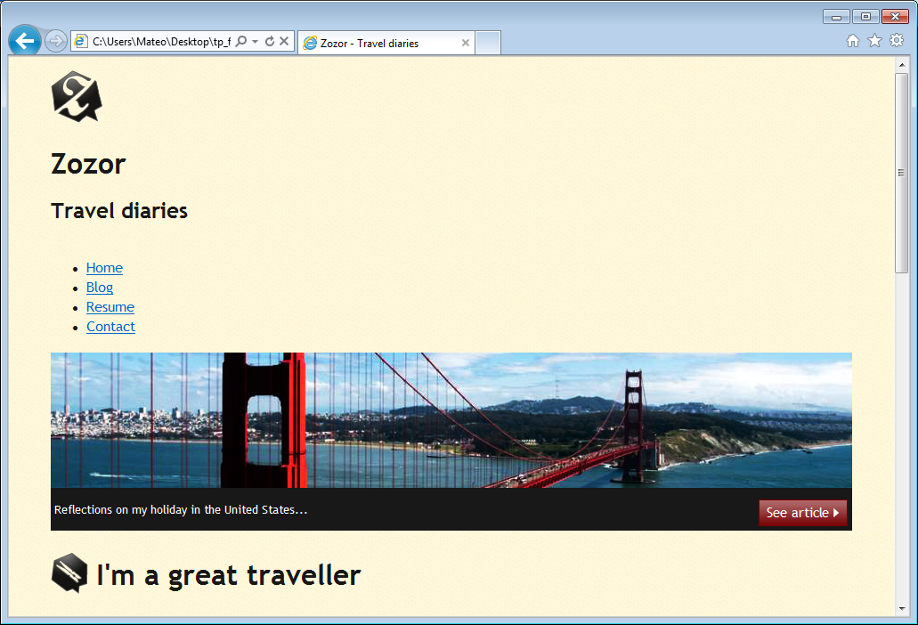 The website in IE7: nothing is displayed properly!