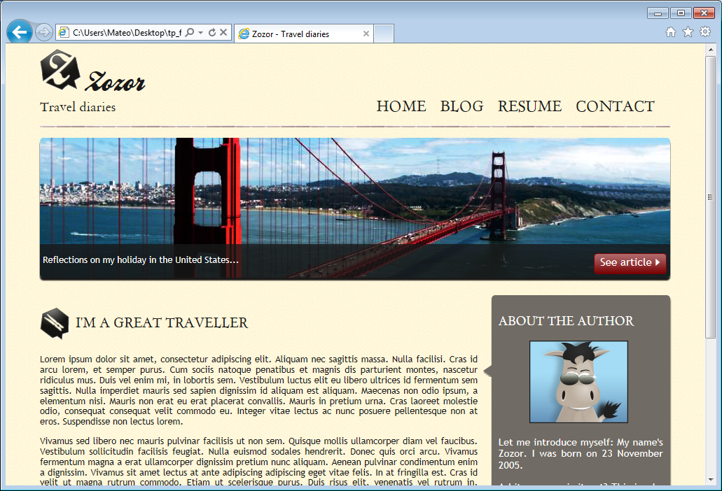 The website in IE9: no problems to report!