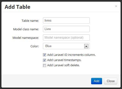 Le formulaire de création d'une table