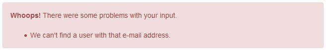 Les message d'erreur pour une adresse inconnue